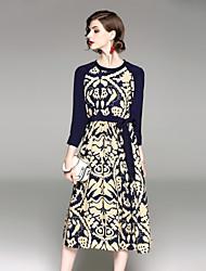 abordables -Gaine Robe Femme Soirée Chinoiserie,Géométrique Col Arrondi Maxi Manches 3/4 Polyester Printemps Eté Taille médiale Micro-élastique Epais