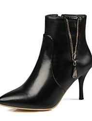 baratos -Mulheres Sapatos Courino Inverno Primavera Botas da Moda Botas Salto Agulha Dedo Apontado Botas Curtas / Ankle para Casamento Social