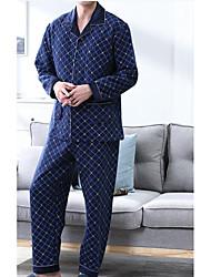 cheap -Men's Suits Pajamas,Print Cotton Blue