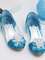 cheap -Girls' Shoes Sparkling Glitter Spring Fall Tiny Heels for Teens Flower Girl Shoes Comfort Heels for Casual Gold Silver Blue Pink
