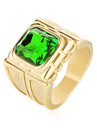 cheap -Men's Cubic Zirconia Stainless Steel Zircon Statement Ring - , Casual Fashion Black Red Green Blue Ring For Birthday Gift