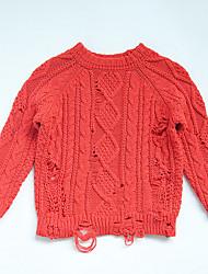 preiswerte -Unisex Pullover & Cardigan Alltag Solide Baumwolle Frühling Langarm Einfach Blau Rote Gelb