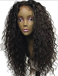 cheap -Human Hair Brazilian Lace Wig Curly Glueless Lace Front With Baby Hair Unprocessed Natural Hairline 130% Density Natural Black Short
