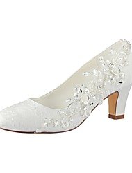 cheap -Women's Shoes Lace Stretch Satin Spring Fall Basic Pump Wedding Shoes Chunky Heel Round Toe Pearl for Wedding Party & Evening Ivory
