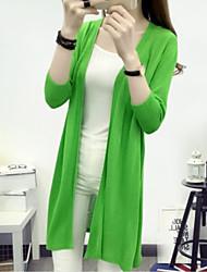 preiswerte -Damen Kaschmir Langarm Lang Strickjacke-Solide