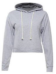 cheap -Women's Daily Hoodie Solid Hooded Micro-elastic Polyester Long Sleeve Fall