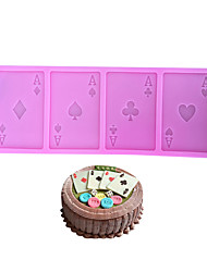 cheap -A Poker Silicone Cake Mold Playing Cards Cookie Chocolate Fondant Kitchen Baking Tool