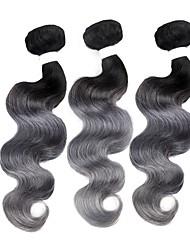 abordables -Cheveux Brésiliens Cheveux Rémy Ondulation naturelle Tissages de cheveux humains 3pcs A Ombre