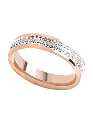 cheap -Women's Cubic Zirconia Stainless Steel Band Ring With Gift Box - Metallic Fashion Korean Rose Gold Ring For Daily