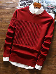 cheap -Men's Basic Long Sleeves Pullover - Solid Colored Round Neck