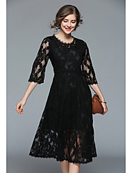 cheap -Women's Street chic Lace Dress - Solid Colored, Lace High Waist