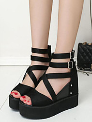 Strappy Stacked Heels