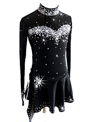 abordables -Robe de Patinage Artistique Femme Fille Patinage Robes Noir Tenue de Patinage Paillette Manches Longues Patinage Artistique