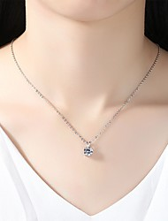 cheap -Women's Cubic Zirconia Rhinestone Silver Pendant Necklace - Simple Elegant Drop Silver Necklace For Wedding Evening Party