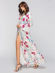 abordables -Mujer Playa Boho Manga de la llamarada Corte Ancho Vestido - Separado / Estampado, Bloques Alta cintura Maxi Escote en Pico Blanco