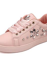 preiswerte -Damen Schuhe Paillette PU Frühling Herbst Komfort Sneakers Flacher Absatz für Weiß Schwarz Rosa