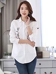 Недорогие -Жен. Офис Рубашка, V-образный вырез Однотонный Цветочный принт