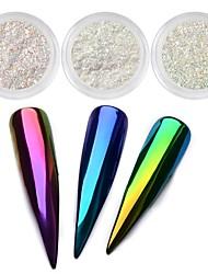 Недорогие -1шт Зеркальный эффект Градиент цвета порошок Порошок блеска Гель для ногтей Вино мультиколор пурпурно-синий Коричневый Серый Дизайн ногтей
