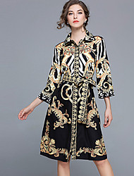 cheap -Women's Sheath Dress - Geometric, Print Shirt Collar