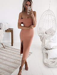 cheap -Women's Going out Bodycon Dress - Solid Colored Split High Waist Off Shoulder