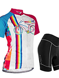 baratos -Nuckily Mulheres Manga Curta Camisa com Shorts para Ciclismo - Camuflado Floral / Botânico Geométrico Moto Shorts Camisa/Roupas Para