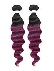 baratos -2 Peças Preto / Roxo Onda Profunda Cabelo Brasileiro Tramas de cabelo humano Extensões de cabelo 0.2kg