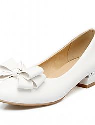 preiswerte -Damen Schuhe Kunstleder Frühling Herbst Komfort Neuheit High Heels Blockabsatz Runde Zehe Schleife für Normal Kleid Weiß Rot Rosa