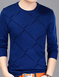 cheap -Men's Cotton T-shirt - Plaid Round Neck
