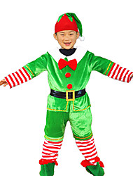 baratos -Ternos de Papai Noel Chapéu de natal Vestido de Natal Crianças Natal Dia Das Bruxas Festival / Celebração Trajes da Noite das Bruxas Verde