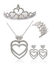 cheap -Women's Rhinestone Imitation Diamond Heart Jewelry Set Body Jewelry / 1 Necklace / 1 Bracelet - Fashion / European White Tiaras / Bridal
