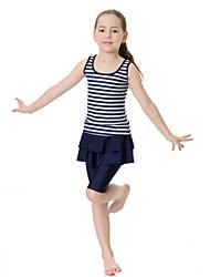 cheap -Girls' Striped Swimwear, Nylon Lycra Sleeveless Blushing Pink Navy Blue
