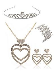 cheap -Women's Rhinestone Imitation Diamond Heart Jewelry Set Body Jewelry / 1 Necklace / 1 Bracelet - Fashion / European Gold Tiaras / Bridal