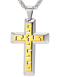 cheap -Men's Pendant Necklace - Stainless Steel Cross Classic Gold Necklace One-piece Suit For Daily, Carnival