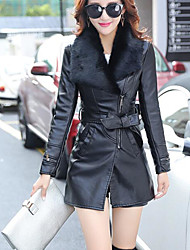 cheap -Women's Going out Street chic Leather Jacket - Solid Colored Peter Pan Collar / Fall / Winter / Fur Trim