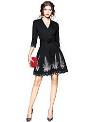 cheap -Women's Daily Going out Casual Street chic Swing Above Knee Dress, Solid Round Neck 3/4 Length Sleeves Spring