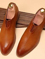 靴 レザーレット 春 秋 コンフォートシューズ ローファー&スリップアドオン のために カジュアル ホワイト Brown バーガンディー
