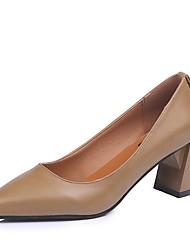 preiswerte -Damen Schuhe PU Winter Komfort Pumps High Heels Blockabsatz Spitze Zehe für Kleid Schwarz Braun Khaki