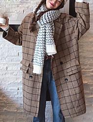 economico -Impermeabile Maxi Per donna Wear to work Notte fuori & Special occasion Stoffe orientali Inverno Autunno, Pied-de-poule Collo alto