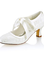 cheap -Women's Shoes Stretch Satin Spring Fall Basic Pump Wedding Shoes Chunky Heel Round Toe Ribbon Tie for Wedding Party & Evening Ivory