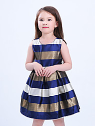 preiswerte -Mädchen Kleid Alltag Gestreift Einfarbig Baumwolle Kunstseide Frühling Sommer Ärmellos Retro Freizeit Blau Rote