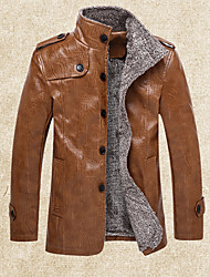 cheap -Men's Daily Going out Casual Winter Long Leather Jacket,Solid Stand PU