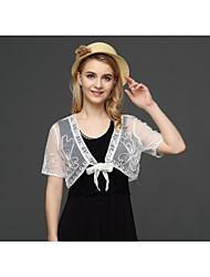 Недорогие -Для женщин На каждый день Лето Жилет V-образный вырез,Секси Однотонный Короткая С короткими рукавами,Шелковая ткань