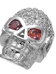 baratos -Jóias DIY 1 pçs Contas Imitações de Diamante Liga Prata Caveira Bead 0.5 cm faça você mesmo Colar Pulseiras