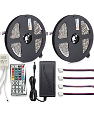 cheap -Waterproof 150 LEDs 2x 5M LED Strip Light 1 12V 6A Adapter 1 44Keys Remote Controller 4 Connectors RGB Cuttable Self-adhesive