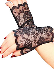 cheap -Women's Party Lace Wrist Length Fingerless Gloves