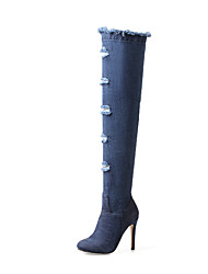 cheap -Women's Shoes Denim Fall / Winter Cowboy / Western Boots / Fashion Boots Boots Stiletto Heel Pointed Toe Over The Knee Boots Blue