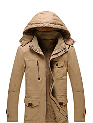 cheap -Men's Vintage Casual Street chic Plus Size Cotton Jacket-Solid Colored Hooded