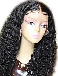 cheap -Human Hair Indian Lace Wig Wavy Curly Glueless Full Lace With Baby Hair Unprocessed Natural Hairline 130% Density Black Medium Long