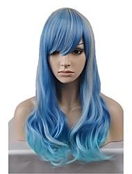 abordables -Perruque Synthétique Ondulation Naturelle Bleu Rouge Femme Sans bonnet Perruque Naturelle Long Cheveux Synthétiques
