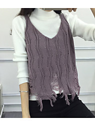 cheap -Women's Sleeveless Vest - Solid Color V Neck Strap